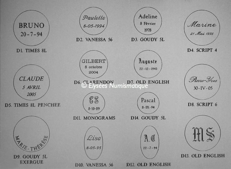 Différentes polices pour gravures des médailles