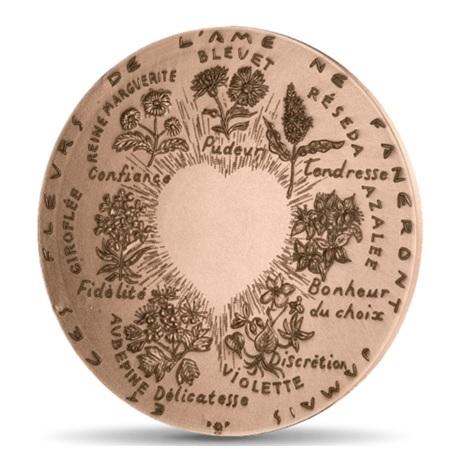 (FMED.Méd.MdP.CuSn.100110040600P0) Médaille bronze - Fleurs d'amour Revers