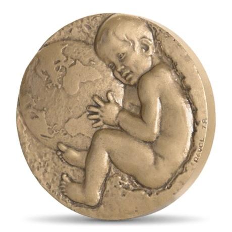 (FMED.Méd.MdP.CuSn.100111063200P0) Médaille bronze - Enfant chargé de l'avenir du monde Avers