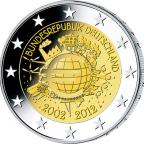 2 euro commémorative Allemagne 2012 A - 10 ans de l'euro fiduciaire