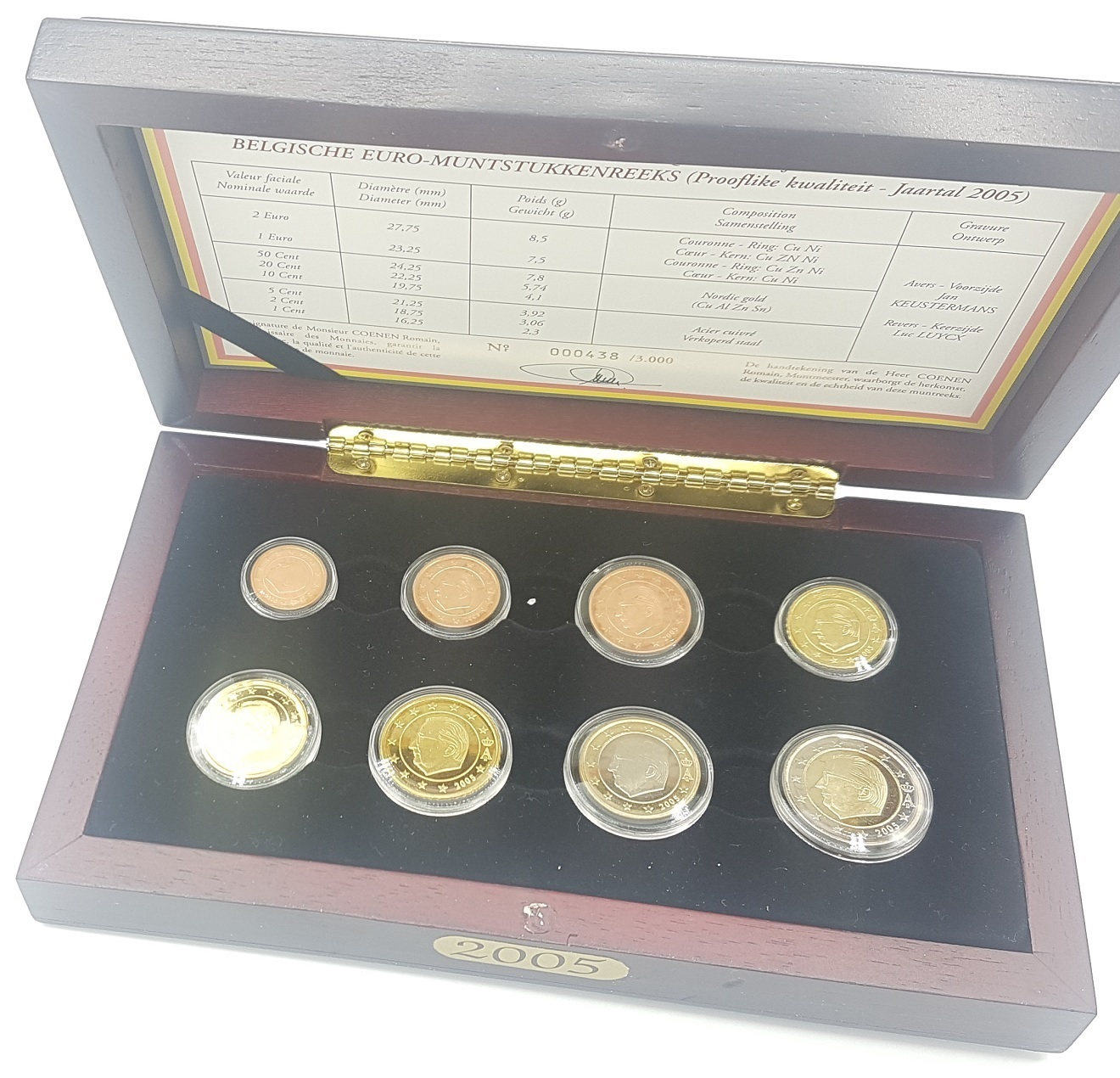 (EUR02.CofBE.2005.Cof-BE.000438) Proof coin set Belgium 2005 (inside) (zoom)