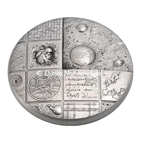 (FMED.Méd.MdP.Ag.sur.CuSn.100112508100A0) Médaille presse-papiersbronze argenté- Cosmos Avers
