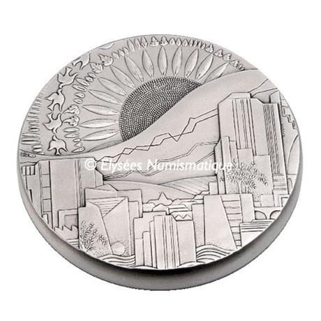 (FMED.Méd.MdP.Ag.sur.CuSn.100112508200A0) Médaille bronze argenté - Développement durable Avers