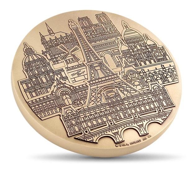 (FMED.Méd.MdP.CuZn.100112486000P0) Florentine bronze clipboard medal - Parisian monuments Obverse (zoom)
