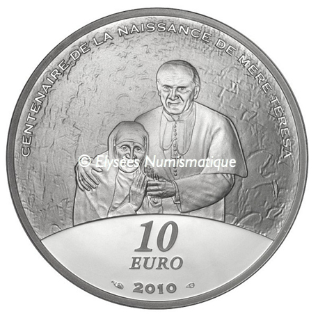 10 euro France 2010 argent BE - Mère Teresa Revers