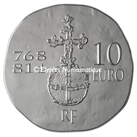 10 euro France 2011 argent BE - Charlemagne Revers