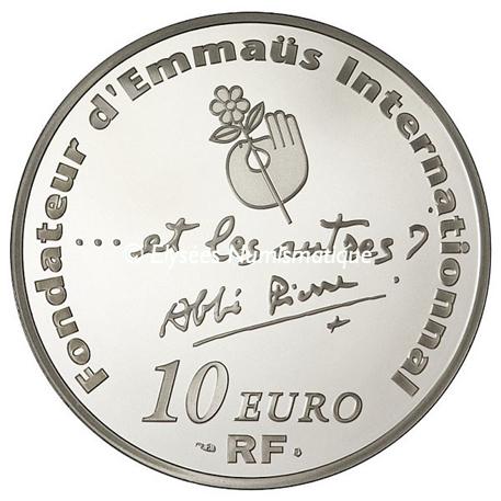 10 euro France 2012 argent BE - Abbé Pierre Revers