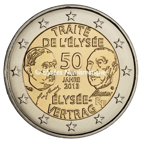 2 euro commémorative France 2013 BU - Traité de l'Elysée Avers