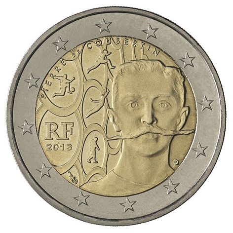 2 euro commémorative France 2013 - Pierre de Coubertin