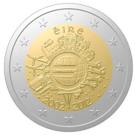 2 euro commémorative Irlande 2012 - 10 ans de l'euro fiduciaire