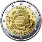 2 euro commémorative Malte 2012 - 10 ans de l'euro fiduciaire