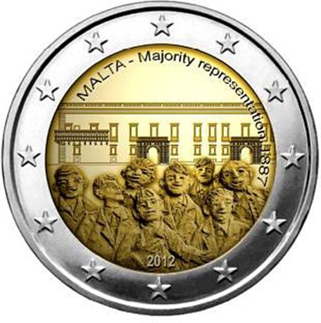2 euro commémorative Malte 2012 - Représentation majoritaire 1887