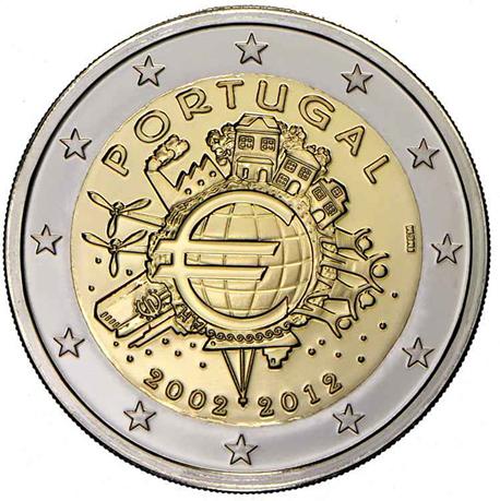 2 euro commémorative Portugal 2012 - 10 ans de l'euro fiduciaire