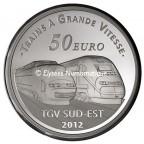 50 euro France 2012 argent BE - Gare de Lyon Saint-Exupéry Revers