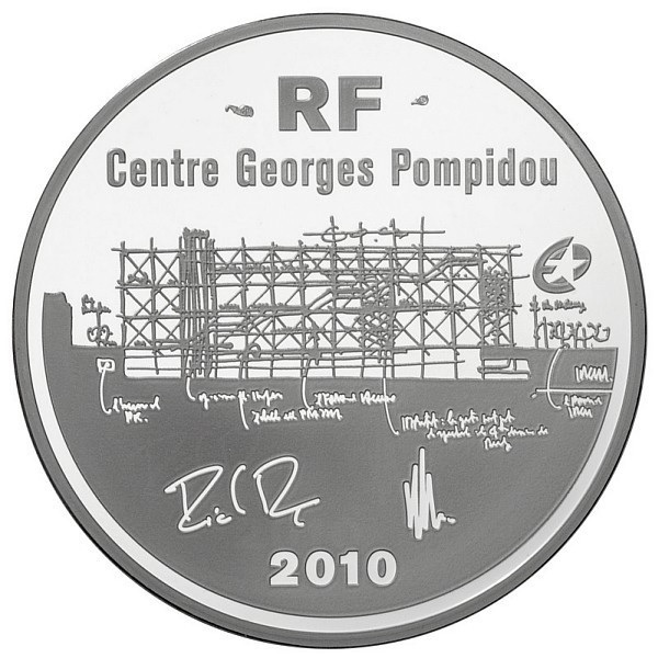 (EUR07.ComBU&BE.2010.1000.BE.10041263350000) 10 euro France 2010 Proof Ag - Pompidou Centre Obverse (zoom)