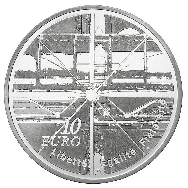 (EUR07.ComBU&BE.2010.1000.BE.10041263350000) 10 euro France 2010 Proof Ag - Pompidou Centre Reverse (zoom)