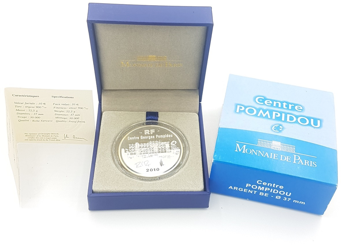(EUR07.ComBU&BE.2010.1000.BE.10041263350000) 10 euro France 2010 Proof silver - Pompidou Centre (case) (zoom)