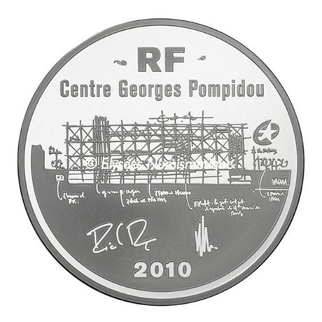 (EUR07.ComBU&BE.2010.1000.BE.10041263350000) 10 euro France 2010 argent BE - Centre Georges Pompidou Avers