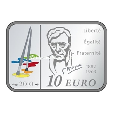 (EUR07.ComBU&BE.2010.1000.BE.10041263610000) 10 euro France 2010 argent BE - Georges Braque Revers