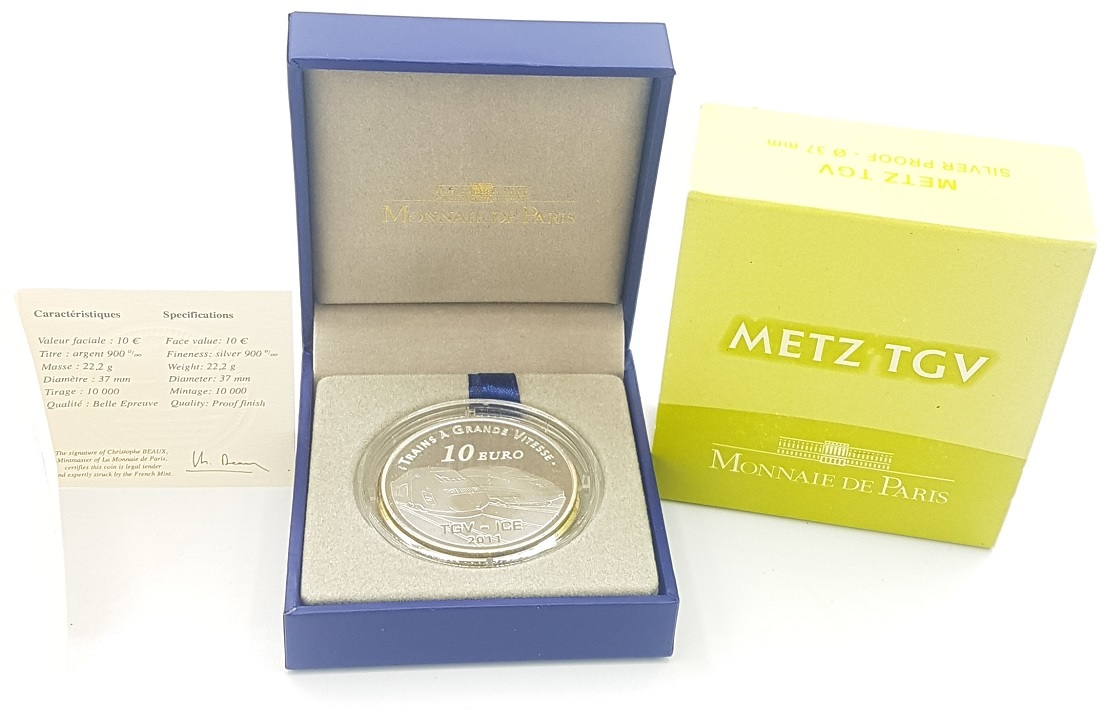 (EUR07.ComBU&BE.2011.1000.BE.10041269090000) 10 euro France 2011 Proof silver - Metz station (case) (zoom)