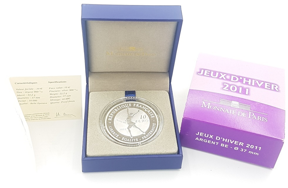 (EUR07.ComBU&BE.2011.1000.BE.10041269110000) 10 euro France 2011 Proof silver - Figure skating (zoom)