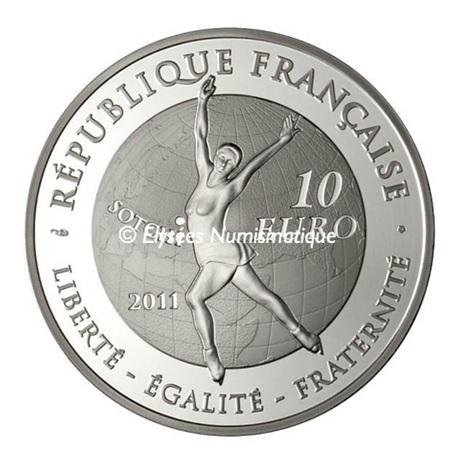 (EUR07.ComBU&BE.2011.1000.BE.10041269110000) 10 euro France 2011 argent BE - Patinage artistique Revers