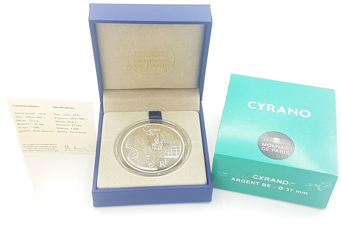 (EUR07.ComBU&BE.2012.1000.BE.10041275430000) 10 euro France 2012 Proof silver - Cyrano (case) (zoom)
