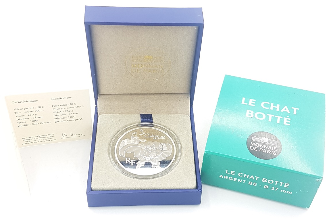 (EUR07.ComBU&BE.2012.1000.BE.10041275470000) 10 euro France 2012 Proof silver - Puss in Boots (case) (zoom)
