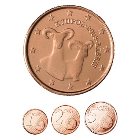 1, 2 et 5 cent Chypre 2008