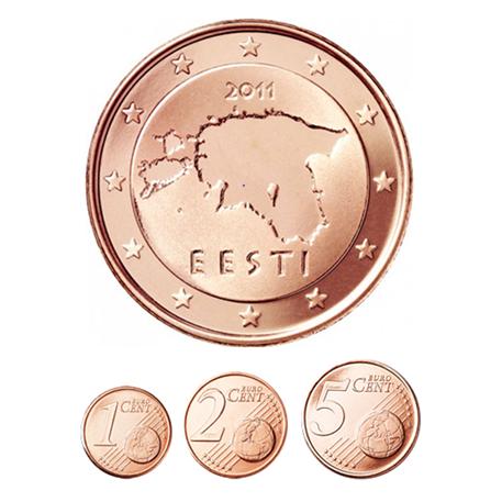 1, 2 et 5 cent Estonie 2011
