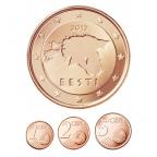 1, 2 et 5 cent Estonie 2012