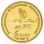5 euro France 2012 or BE - Abbé Pierre Revers