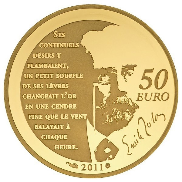 50 euro France 2011 Proof gold - Nana, by Emile Zola Reverse (zoom)