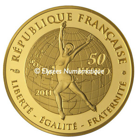 50 euro France 2011 or BE - Patinage artistique Revers