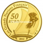 50 euro France 2012 or BE - L'Hermione Revers