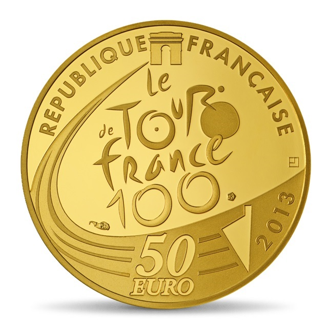 (EUR07.ComBU&BE.2013.5000.BE.10041281810000) 50 euro France 2013 Proof gold - Tour de France Obverse (zoom)