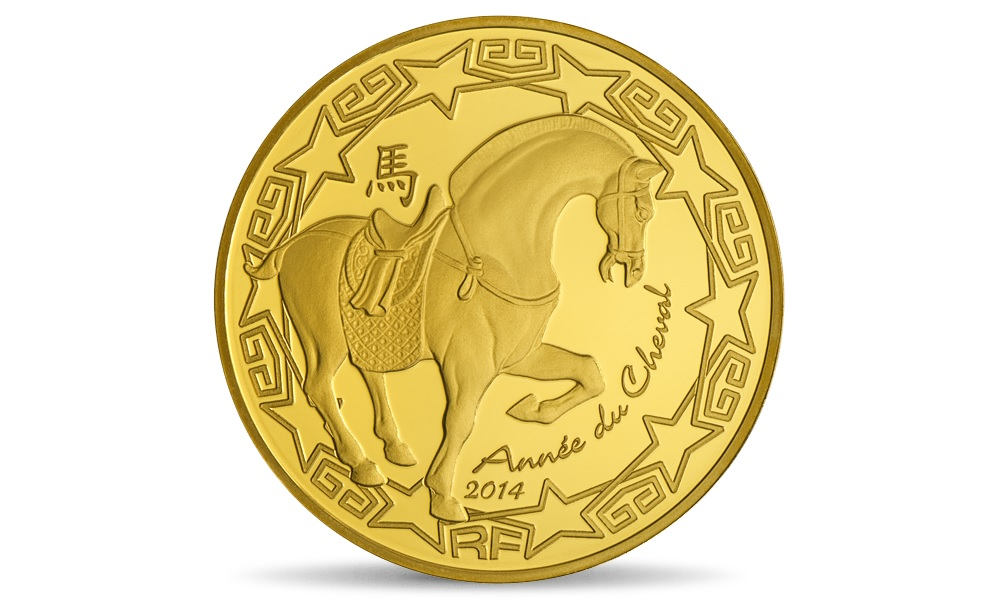 (EUR07.ComBU&BE.2014.10041282380000) 50 euro France 2014 Proof gold - Year of the Horse Obverse (zoom)