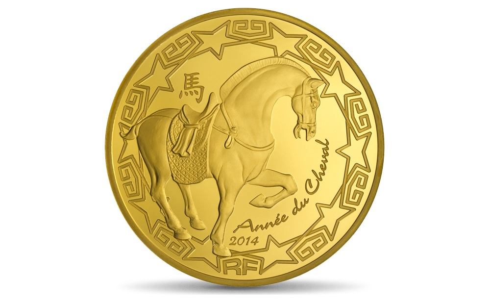 (EUR07.ComBU&BE.2014.10041285790000) 200 euro France 2014 Proof gold - Year of the Horse Obverse (zoom)