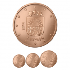 1, 2 et 5 cent Lettonie 2014