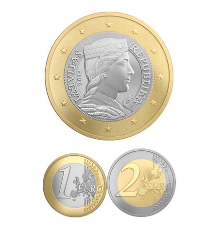 1 et 2 euro Lettonie 2014