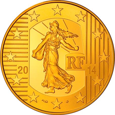 100 euro France 2014 or BE - Semeuse Avers