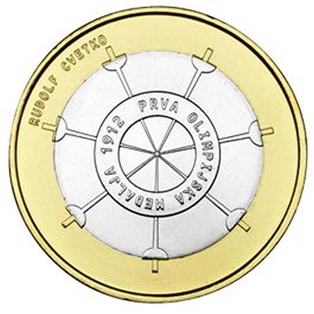 3 euro Slovénie 2012 - Première médaille olympique Revers