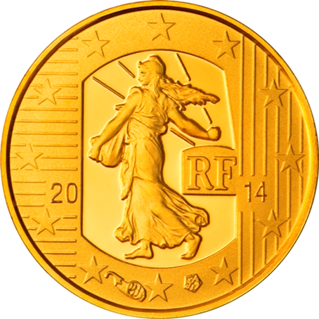 5 euro France 2014 or BE - Semeuse Avers