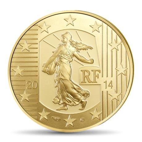 (EUR07.ComBU&BE.2014.10041286340000) 100 euro France 2014 Au BE - Semeuse Avers