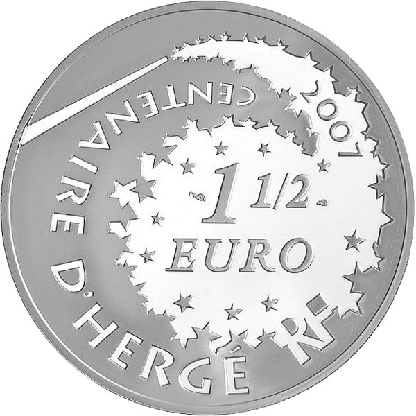 (EUR07.ComBU&BE.2007.150.BE.COM1) 1.5 euro France 2007 Proof silver - Tintin & Chang Obverse (zoom)