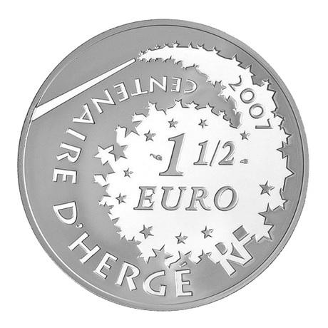 (EUR07.ComBU&BE.2007.150.BE.COM1) 1,5 euro France 2007 argent BE - Tintin et Tchang Avers