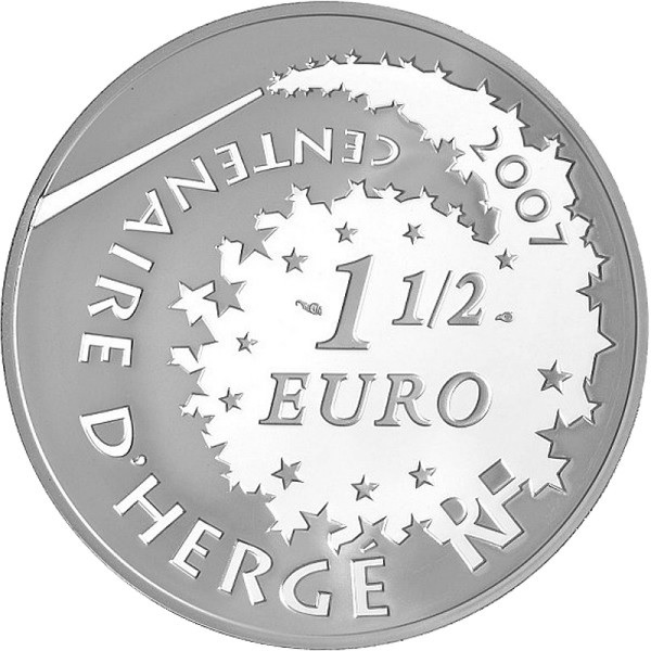 (EUR07.ComBU&BE.2007.150.BE.COM3) 1.5 euro France 2007 Proof silver - Tintin & Haddock Obverse (zoom)