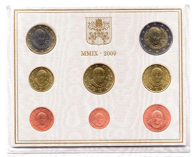(EUR19.CofBU&FDC.2009.Cof-BU.000000002) BU coin set Vatican State 2009 Obverses (zoom)