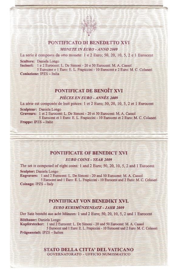 (EUR19.CofBU&FDC.2009.Cof-BU.000000002) BU coin set Vatican State 2009 (informations) (zoom)
