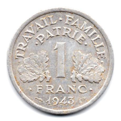 (FMO.1.1943.24.2.000000006) 1 Franc Francisque, légère 1943 Revers